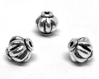 25 pcs Antique Silver Spiral Lantern Melon Round Spacer Beads - 8mm