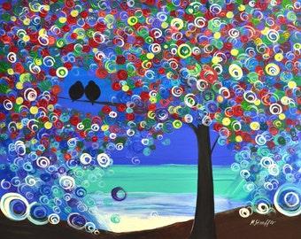 "love birds at night tree painting abstract acrylic 24x30"" Mariana Stauffer - Malorcka art"