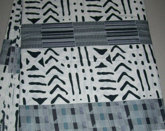 Black and White with Grey Kente print fabric by the yard/ African print fabric/ Kente print/ Kente bow ties/ Kente Fabrics/ Ghana Textiles