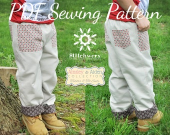 Lined Toddler Child Pants Sewing Pattern, Toddler Child Clothes Sewing Pattern, Kids Pants, Girls pants, Boys pants pattern, 18m - 6y