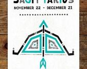 11x14 Zodiac, Teal & Black, Sagittarius Art Print, Modern, Geometric, Typography, Illustration