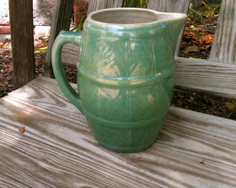 Vintage Stoneware Yellow ware Pitcher Crock Barrel Aqua Turquoise Jade Green