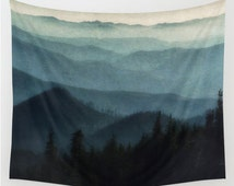 Tapestry, Mountains, Wall Hanging, Light Blue, Midnight Blue, 3 Sizes