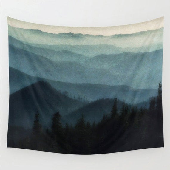 Tapestry mountains wall hanging light blue midnight blue - Lights to hang on wall ...