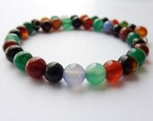 Beaded Bracelet Agate Bracelet Multicoloured Gemstone Bangle Jellybean Bracelet Stacking Bracelet UK Jewellery