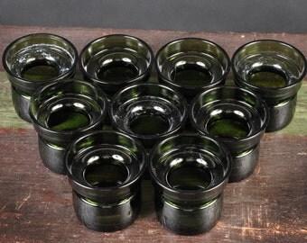 Dansk Green Glass Candle Holders, Jens Quistgaard design, sold in sets of 4