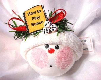 Bunco Christmas Ornaments Hand Painted White Glass Handmade Personalized Themed by Townsend Custom Gifts How to Play Rule Book Dice - BR