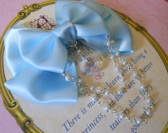 Sweet Lolita Hair clip or Brooch blue bow with glass heart and white pearl beads