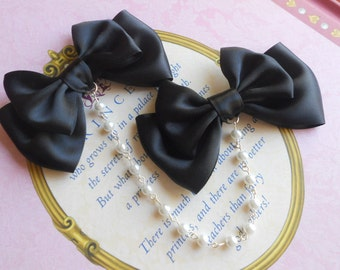 Sweet Lolita Hair clips black bows with white pearl beads fairy kei