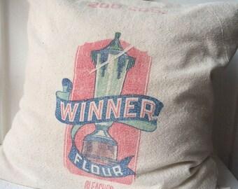 Vintage Grain Sack Pillow Cover Winner Flour