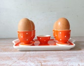 VIntage Waechtersbach Egg Cup Set for 4 with Tray and Salt Dish