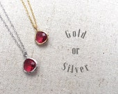 Sparkling Glass Ruby Silver Necklace. Adjustable 16-18 inches. Available in Gold