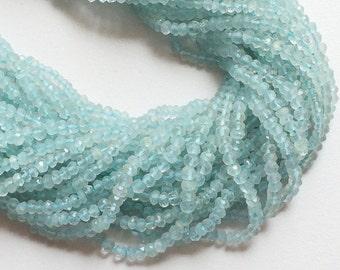 5 Strands WHOLESALE Aquamarine Rondelle Beads - Aquamarine Micro Faceted Rondelles, 3.5mm To 4mm, 14 Inch, Aquamarine Necklac
