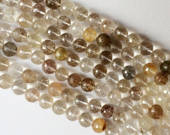 Rutilated Gold Quartz, Gold Rutile Micro Faceted Round Beads, Gold Rutilated Necklace, Rutile Rondelle, 10mm Each - 13 Inch Strand