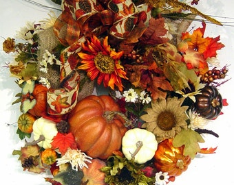 Fall Country Pumpkin door Wreath Bountiful Harvest Autumn floral wall arrangement by Cabin Cove Creations