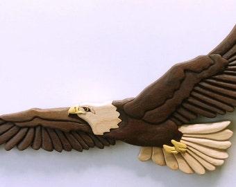 Eagle Intarsia Wall Hanging Bird Wood Carving Bird of Prey Wall Decor