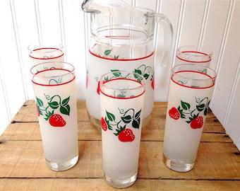 Vintage Drink Set Pitcher Strawberries Teleflora Made in France