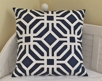 Quadrille China Seas Labyrinth Suncloth Indoor/Outdoor Navy and White Designer Pillow Cover