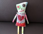Zombie Monster Art Doll, OOAK Original Design, Textile Mixed Media Art Doll, Hand Printed Fabric, Creepy Cute, unique, heart, RED, Ravage