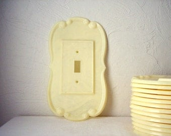 vintage plastic or celluloid switch plate - art deco - art nouveau - large ivory switchplate