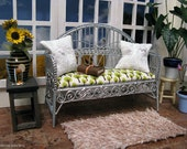 Silver settee with your choice of cushion and two pillows - dollhouse miniature