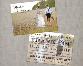 "Chic Wedding Thank You Cards, 5x7, Wedding Thank You Cards, the ""Marla"""