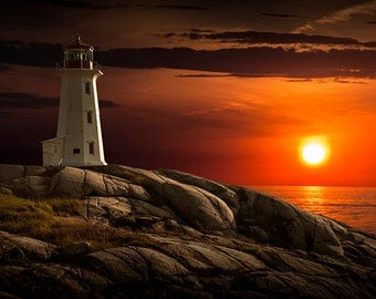 Lighthouse at Sunset in the Peggy's Cove Fishing Village in Nova Scotia Canada Near Halifax No.156 - A Seascape Lighthouse Photograph