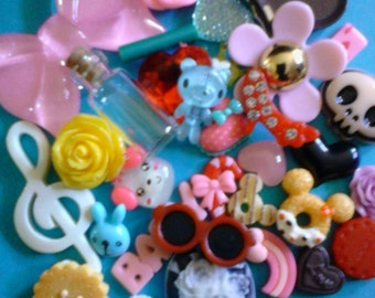 Sale--Kawaii cabochon decoden phone deco diy pink bow mix  # 508 more than 30 pieces   USA seller