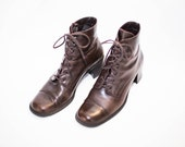 brown leather lace and hook ankle boots size 8.5