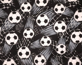Black and White Allover Soccer Print Pure Cotton Fabric--One Yard