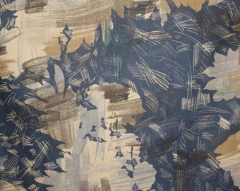 Khaki and Midnight Navy Painterly Abstract Print Pure Cotton Lawn Fabric from Italy--One Yard