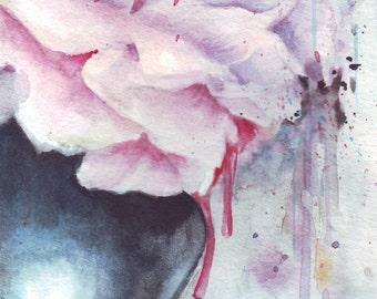 original watercolor painting / flowers still life / pink / watercolor splash / art illustration / HM059