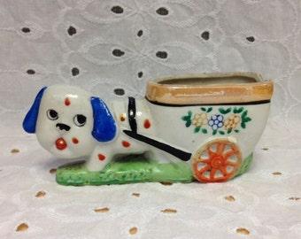 Vintage Dog Toothpick Holder - Dog Pulling Cart Figurine - Made in Japan - Miniature Dog Planter