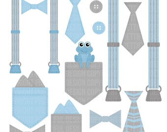 Boy Onesie Accessories Clip Art Pocket Handkerchief Suspender Tie Bow Tie Clip Art Little Gentleman Light Blue Gray