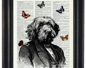 BOGO Sale Dog With Butteflies Art Print with A HHP Original with HHP Signature Butterflies Wall Decor Dictionary Print Dictionary Prints