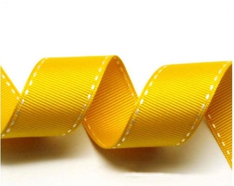 Yellow Gold/White Grosgrain Stitch Ribbon - 5mm(2/8''), 10mm(3/8''), 15mm(5/8''), and 25mm(1'')