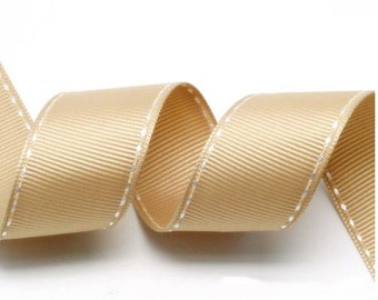 Beige/White Grosgrain Stitch Ribbon - 5mm(2/8''), 10mm(3/8''), 15mm(5/8''), and 25mm(1'')
