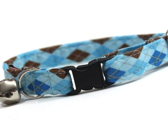 Blue and Brown Argyle Cat Collar