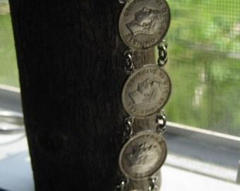 Vintage Handmade Bracelet Sterling Silver Crafted with 3 Pence British George V Coins