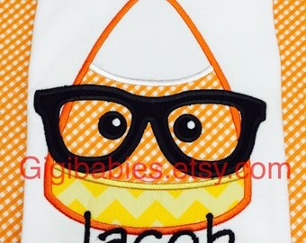 Little boys candy corn fall shirt with nerd glasses and monogram by gigibabies
