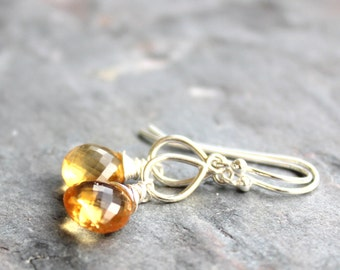 Citrine Earrings Drop Earrings Amber Gemstone Earrings Sterling Silver Wire Wrapped November Birthstone