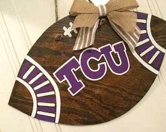 TCU Football Wooden Door Hanger / Texas Christian / Horned Frogs / Logo