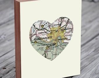 Cincinnati Art - Cincinnati Map - Cincinnati Print - Cincinnati Skyline - Wood Block Art Print