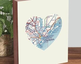 Charleston SC - Charleston Map - Charleston Print - Wood Block Art Print