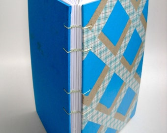 Turquoise Op Art Journal. Coptic Stitch Journal, Washi Tape Journal, Smash Book