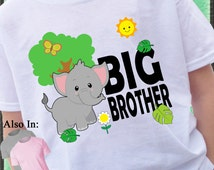 Elephant Big Brother Shirt - Big Brother Elephant Shirt Africa Wild Animal Baby Elephant with butterfly leaves family announcement tshirt