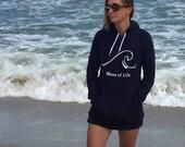 Yoga Sweatshirt Dress Wave of Life™ Cotton Hoodie Fleece Summer Beach Style Fashion Boho Chic You Choose Color by Wave of Life™