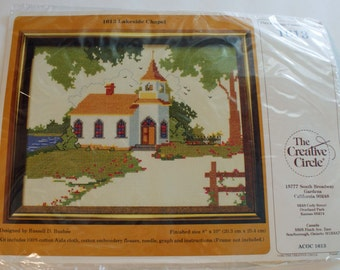 Church Counted Cross Stitch Kit Lakeside Chapel Sealed Item 1613 The Creative Circle