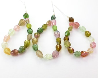 TOURMALINE BeAds. Natural. Mixed Colors. Briolette Beads. 15 pc. +/- 7.03 cts. +/- 4x6 mm (TM1003)
