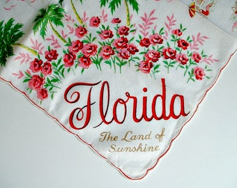Vintage Florida Handkerchief Souvenir State Map Hankie The Land of Sunshine Hanky